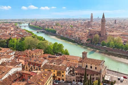 city landscape: Aerial view on Verona and Adige river on sunny day, Italy