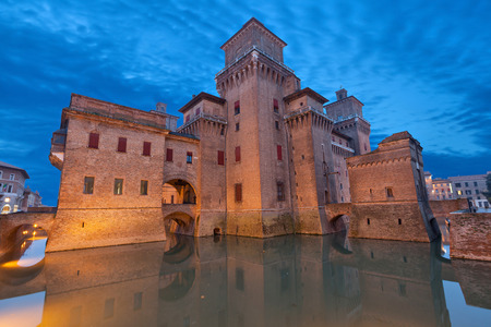 Castello Estense in the evening, Ferrara, Emilia-Romagna, Italy
