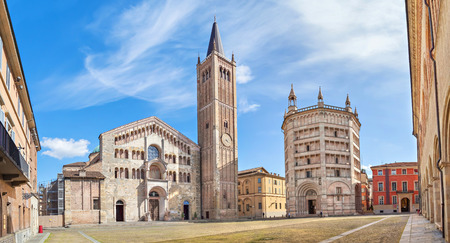 Panorama of Piazza Duomo with Cathedral and Baptistery, Parma, Emilia-Romagna, Italy
