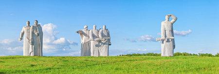 battle: Volokolamsk, Russia - 25 May 2016: Panfilov warriors memorial near village Nelidovo near Volokolamsk, Moscow region. Built in 1975 Editorial