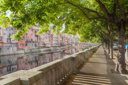 jewish houses: Embankment of Onyar river in the morning, Girona, Catalonia, Spain Stock Photo