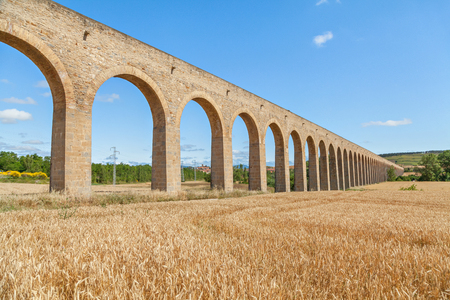 18th: The Aqueduct of Noain built in 18th century near Pamplona, Navarra, Spain