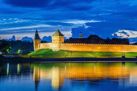 volkhov: Wall and towers of Novgorod Veliky kremlin, view from opposite side of river Volkhov, Russia
