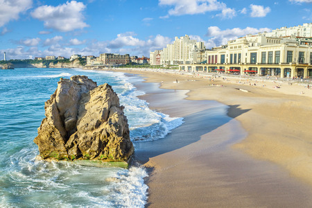 Grande Plage beach and rock on foreground, Biarritz, Aquitaine, France Stock Photo