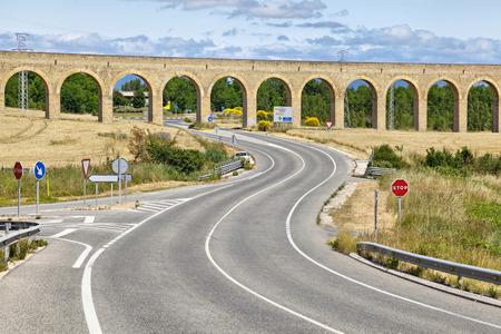 navarra: The Aqueduct of Noain built in 18th century near Pamplona, Navarra, Spain