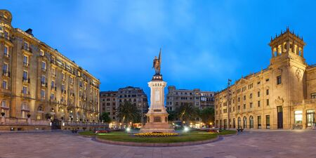 san sebastian: Oquendo square with monument to Antonio de Oquendo in the evening, San Sebastian, Basque Country, Spain
