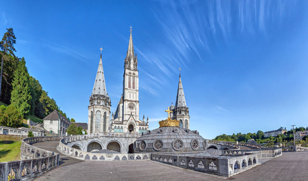 Panoramic view of Rosary Basilica in Lourdes, Hautes-Pyrenees, France