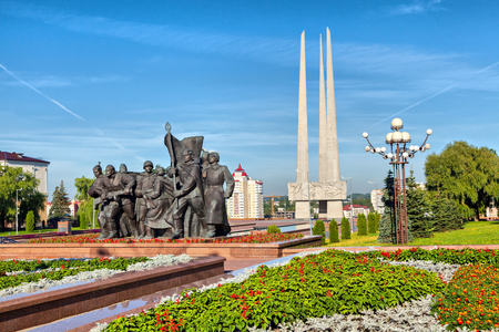 worl: Vitebsk, Belarus - August 04 2016: Worl War II memorial on Victory square in the center of the city Editorial