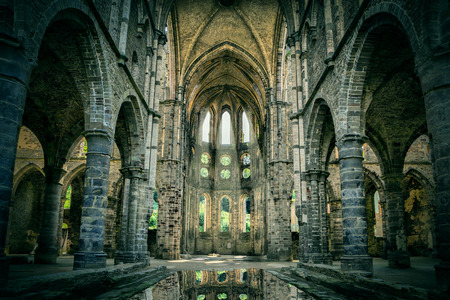 abbaye: Dilapidated church in abandoned Villers Abbey, Wallonia, Belgium (with dramatic light and HDR-effect)
