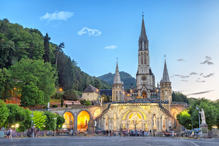 Rosary Basilica in the evening, Lourdes, Hautes-Pyrenees, France