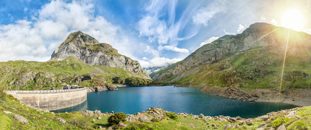 gave: Gloriettes lake - is an artificial lake formed with the Gloriettes dam on the Gave dEstaube river in the Hautes-Pyrenees, France