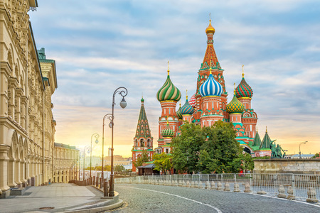Saint Basil Cathedral on sunrise, Moscow, Russia Reklamní fotografie - 65991500