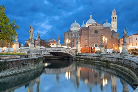 View on Basilica of Saint Giustina from Prato della Valle square in the evening, Padova, Italy