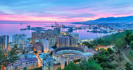 Sunset in Malaga - aerial view, Costa del Sol, Andalusia, Spain