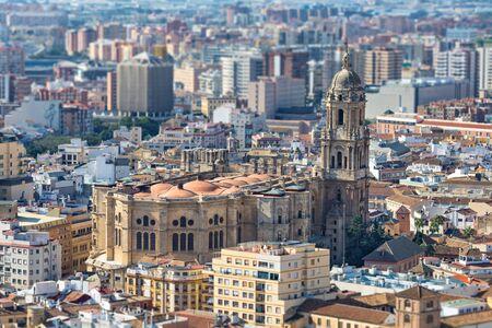 malaga: Aerial view on Malaga Cathedral, Andalusia, Spain