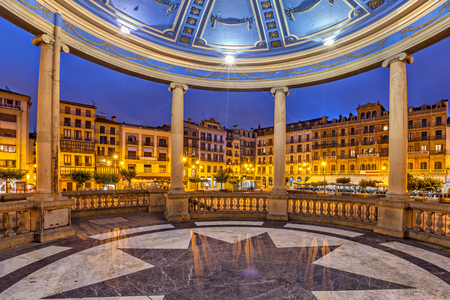 bandstand: View from bandstand on Plaza del Castillo square in the evening, Pamplona, Navarre, Spain Editorial