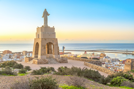 cristobal: Statue of Christ staying on the hill above the Almeria city on sunrise, Andalusia, Spain