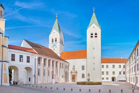 freising: Towers of Freising Cathedral in Freising, Bavaria, Germany Stock Photo
