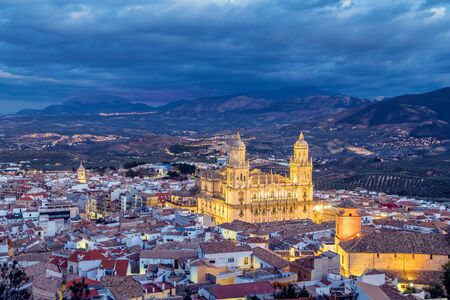 night dusk: Cityscape of Jaen in the evening, Andalusia, Spain