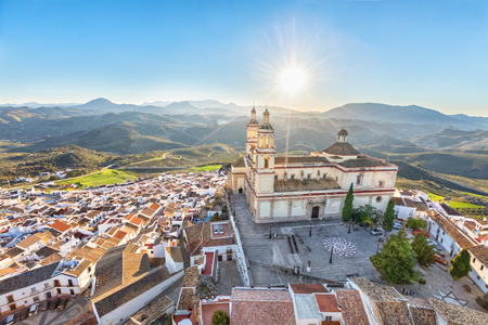 Aerial view of Olvera town with church of Our Lady of Incarnation, Cadiz povince, Andalusia, Spain Standard-Bild