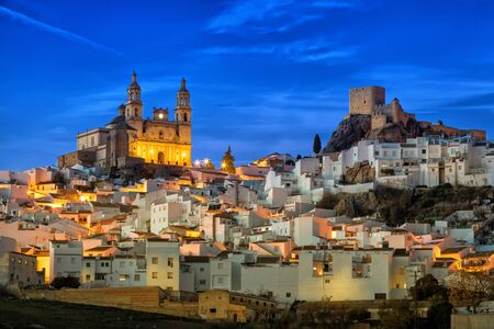 Ancient town Olvera in the evening, Cadiz province, Andalusia, Spain
