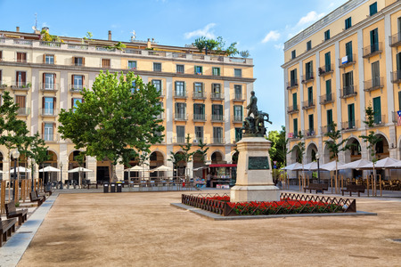 Independence Square in Girona, Catalonia, Spain Stock Photo