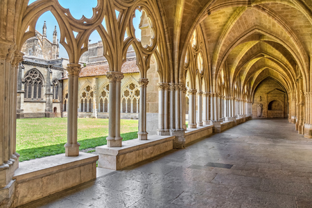 basque country: Bayonne, France - June 22, 2016: Gothic arches and pillars in Cloister of Sainte-Marie de Bayonne Cathedral Editorial