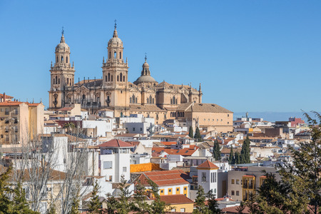 Roofs of the city and Jaen Cathedral in Jaen, Andalusia, Spain Standard-Bild