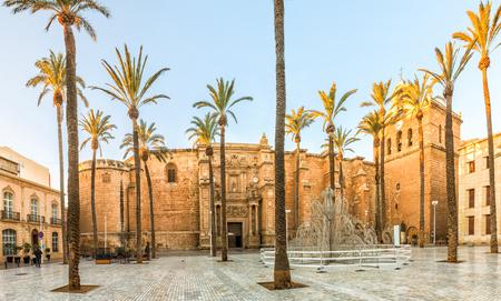 View on Almeria cathedral from Plaza de la Catedral in Almeria, Andalusia, Spain Archivio Fotografico