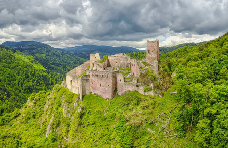 est: Ruins of Saint-Ulrich Castle located in The Vosges mountains near Ribeauville, Alsace, France Stock Photo