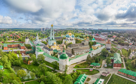 Trinity Lavra of St. Sergius - panoramic aerial view in Sergiev Posad, Moscow oblast,  Russia Stock Photo
