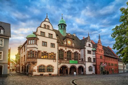Old Town Hall (Altes Rathaus) on sunrise in Freiburg im Breisgau, Baden-Wurttemberg, Germany Stock Photo