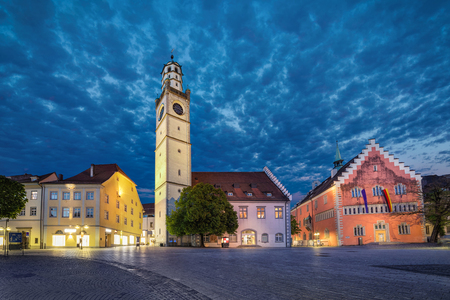 Historical landmarks of Ravensburg: Blaserturm (trumpeter's tower), Waaghaus (weighing house) and Town hall (Rathaus) loacated on Marienplatz square