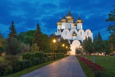 sobor: Uspenskiy cathedral in the evening, Yaroslavl, Russia Stock Photo