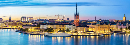 Panoramic view on Stockholm skyline in Old Town (Gamla Stan) in the evening, Sweden
