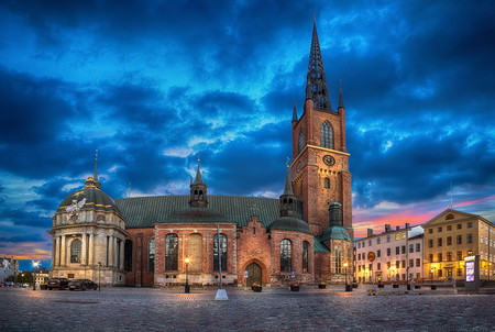 HDR image of Riddarholmen Church at dusk located in Old Town (Gamla Stan) of Stockholm, Sweden Stock Photo