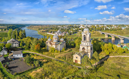 sobor: Churches located in the area of ancient hillfort in Staritsa, Tver oblast, Russia