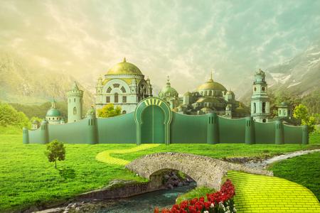 Emerald City con strada di mattoni gialli e ponte sul fiume