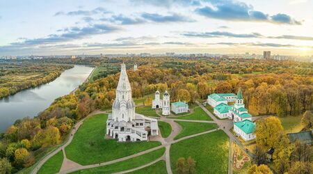 Church of the Ascension in Kolomenskoe park in autumn season (aerial view), Moscow, Russia
