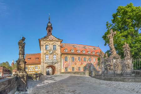 Old Town Hall (Altes Rathaus) of Bamberg and Upper Bridge (Obere Bruccke) in Bamberg, Germany