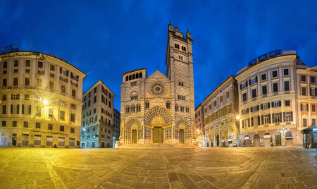 Cathedral of Genoa at dusk. Panoramic view from  Piazza San Lorenzo square in Genoa, Liguria, Italy
