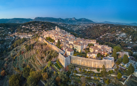 Aerial view on Saint Paul de Vence fortified medieval village, Alpes-Maritimes, France