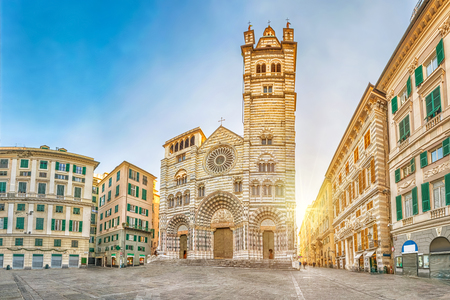 Cathedral of Genoa on sunrise - view from Piazza San Lorenzo square in Genoa, Liguria, Italy