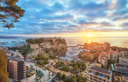 Sunrise in Monaco: View of port Fontvieille and Rock of Monaco with old town