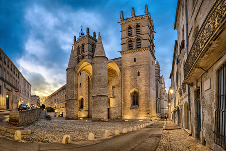 Gothic Cathedral of Saint Peter at dusk in Montpellier, Occitanie, France Stock Photo