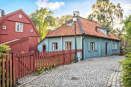 Gathenhielmska Cultural Reserve - small area of old wooden buildings preserved since the 1720s. It shows how Gothenburg looked up in the 18th century, before the great fires Reklamní fotografie