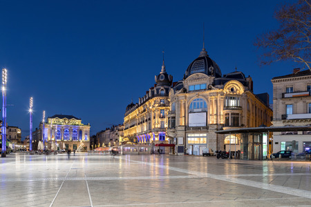 Place de la Comedie at dusk - large square in the center of Montpellier, Occitanie, France