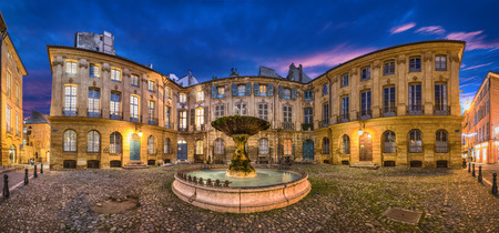 Aix-en-Provence, France. HDR panorama of Place D'Albertas square with old fountain at dusk