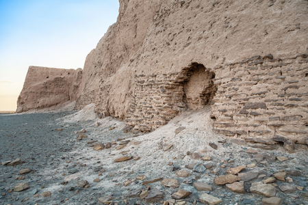 Damaged wall of Djanpik Qala: 9-10th century Khorezm fotress, Karakalpakstan region, Uzbekistan