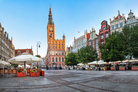 Gdansk Town Hall located on Dluga street (Long lane) in old town of Gdansk, Poland Editorial